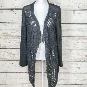 Monari Italia Grey Crochet & Fringe Cardigan Sz Lg